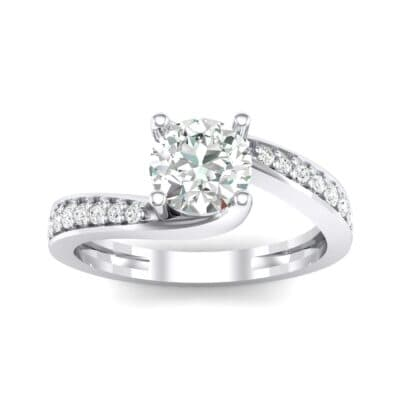 Tapered Pave Bypass Diamond Engagement Ring (0.74 CTW) Top Dynamic View