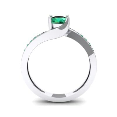 Tapered Pave Bypass Emerald Engagement Ring (0.74 CTW) Side View