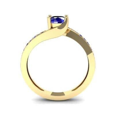 Tapered Pave Bypass Blue Sapphire Engagement Ring (0.74 CTW) Side View
