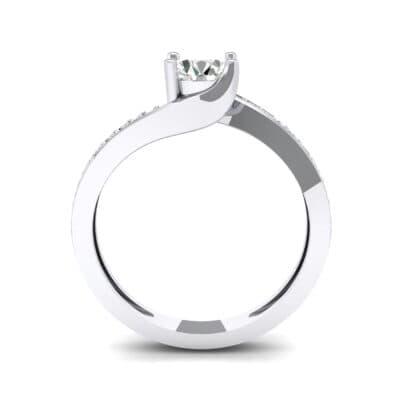 Tapered Pave Bypass Diamond Engagement Ring (0.74 CTW) Side View