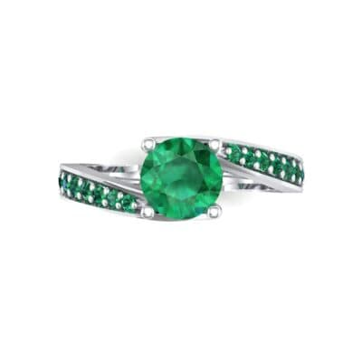 Tapered Pave Bypass Emerald Engagement Ring (0.74 CTW) Top Flat View