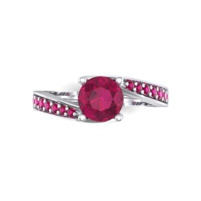 Tapered Pave Bypass Ruby Engagement Ring (0.74 CTW) Top Flat View