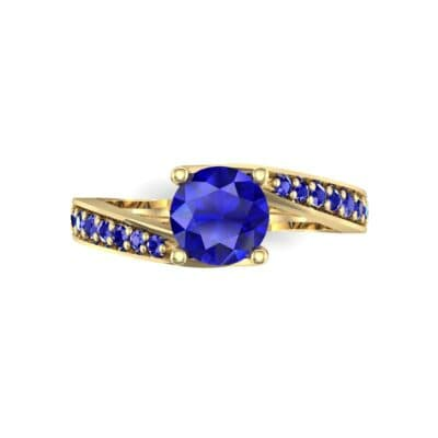 Tapered Pave Bypass Blue Sapphire Engagement Ring (0.74 CTW) Top Flat View