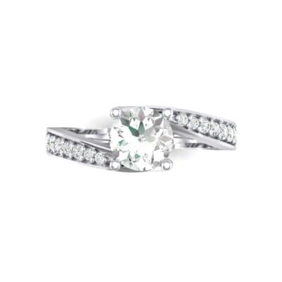 Tapered Pave Bypass Diamond Engagement Ring (0.74 CTW) Top Flat View