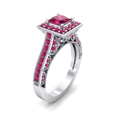 Square Halo Palazzo Ruby Engagement Ring (1.15 CTW) Perspective View