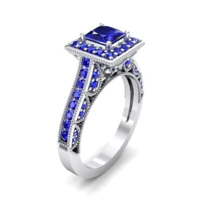 Square Halo Palazzo Blue Sapphire Engagement Ring (1.15 CTW) Perspective View