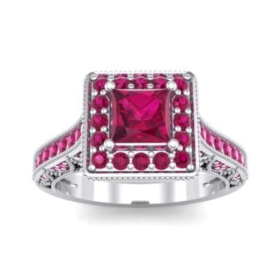 Square Halo Palazzo Ruby Engagement Ring (1.15 CTW) Top Dynamic View