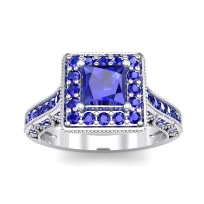 Square Halo Palazzo Blue Sapphire Engagement Ring (1.15 CTW) Top Dynamic View