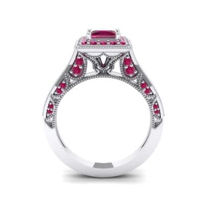 Square Halo Palazzo Ruby Engagement Ring (1.15 CTW) Side View