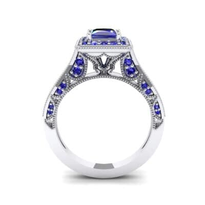 Square Halo Palazzo Blue Sapphire Engagement Ring (1.15 CTW) Side View