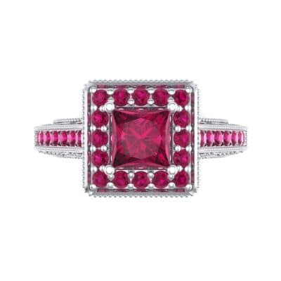 Square Halo Palazzo Ruby Engagement Ring (1.15 CTW) Top Flat View