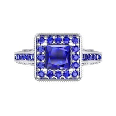 Square Halo Palazzo Blue Sapphire Engagement Ring (1.15 CTW) Top Flat View