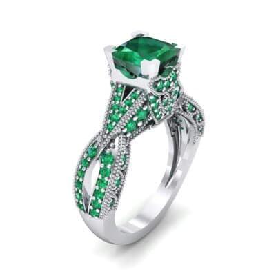 Beaded Palazzo Solitaire Emerald Engagement Ring (2.1 CTW) Perspective View