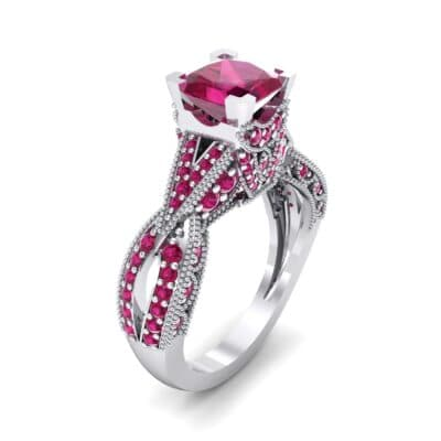 Beaded Palazzo Solitaire Ruby Engagement Ring (2.1 CTW) Perspective View