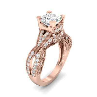 Beaded Palazzo Solitaire Diamond Engagement Ring (2.1 CTW) Perspective View