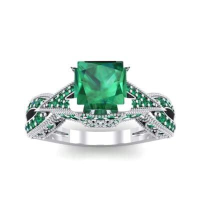 Beaded Palazzo Solitaire Emerald Engagement Ring (2.1 CTW) Top Dynamic View