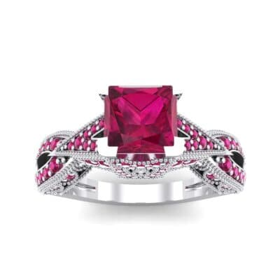 Beaded Palazzo Solitaire Ruby Engagement Ring (2.1 CTW) Top Dynamic View
