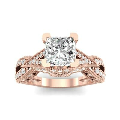 Beaded Palazzo Solitaire Diamond Engagement Ring (2.1 CTW) Top Dynamic View