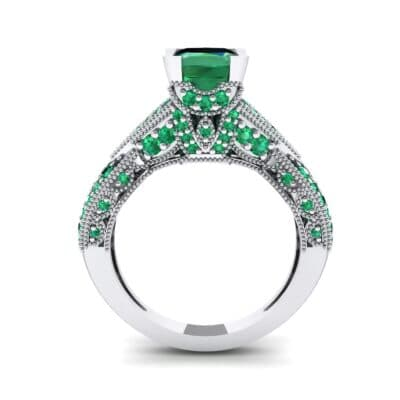 Beaded Palazzo Solitaire Emerald Engagement Ring (2.1 CTW) Side View