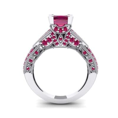 Beaded Palazzo Solitaire Ruby Engagement Ring (2.1 CTW) Side View