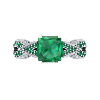 Beaded Palazzo Solitaire Emerald Engagement Ring (2.1 CTW) Top Flat View