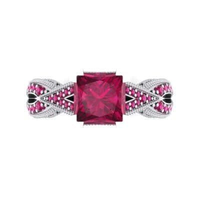 Beaded Palazzo Solitaire Ruby Engagement Ring (2.1 CTW) Top Flat View