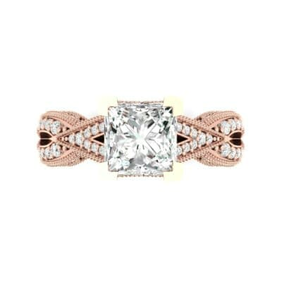 Beaded Palazzo Solitaire Diamond Engagement Ring (2.1 CTW) Top Flat View