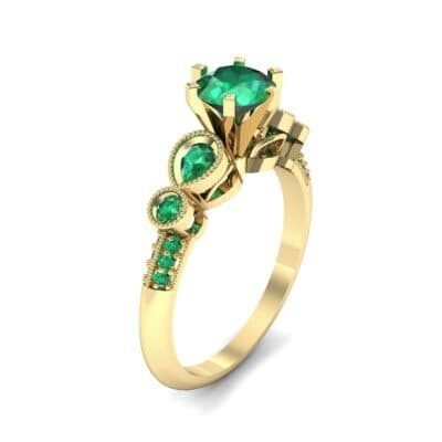 Amour Milgrain Solitaire Emerald Engagement Ring (1.48 CTW) Perspective View
