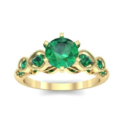 Amour Milgrain Solitaire Emerald Engagement Ring (1.48 CTW) Top Dynamic View