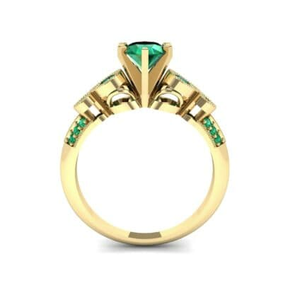 Amour Milgrain Solitaire Emerald Engagement Ring (1.48 CTW) Side View