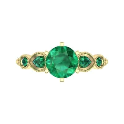Amour Milgrain Solitaire Emerald Engagement Ring (1.48 CTW) Top Flat View