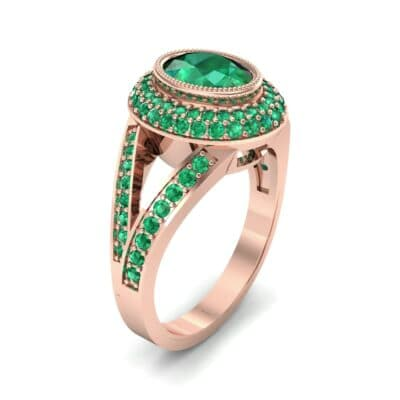 Victoria Bezel-Set Halo Emerald Engagement Ring (3.67 CTW) Perspective View