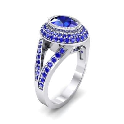 Victoria Bezel-Set Halo Blue Sapphire Engagement Ring (3.67 CTW) Perspective View