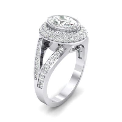 Victoria Bezel-Set Halo Diamond Engagement Ring (3.67 CTW) Perspective View