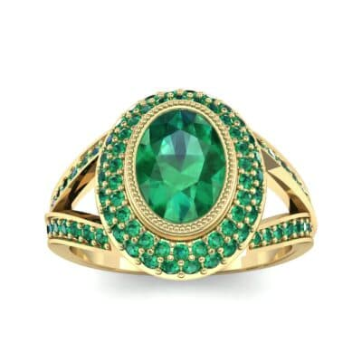 Victoria Bezel-Set Halo Emerald Engagement Ring (3.67 CTW) Top Dynamic View