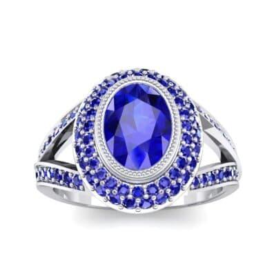 Victoria Bezel-Set Halo Blue Sapphire Engagement Ring (3.67 CTW) Top Dynamic View