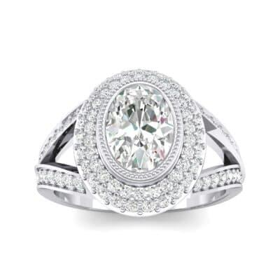Victoria Bezel-Set Halo Diamond Engagement Ring (3.67 CTW) Top Dynamic View