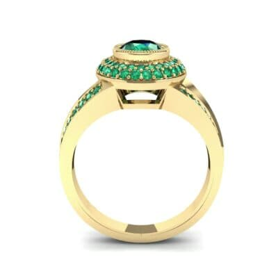Victoria Bezel-Set Halo Emerald Engagement Ring (3.67 CTW) Side View