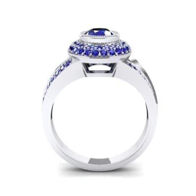Victoria Bezel-Set Halo Blue Sapphire Engagement Ring (3.67 CTW) Side View