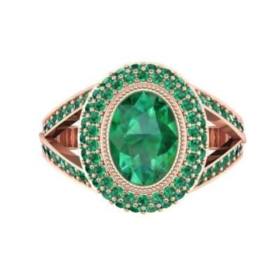 Victoria Bezel-Set Halo Emerald Engagement Ring (3.67 CTW) Top Flat View