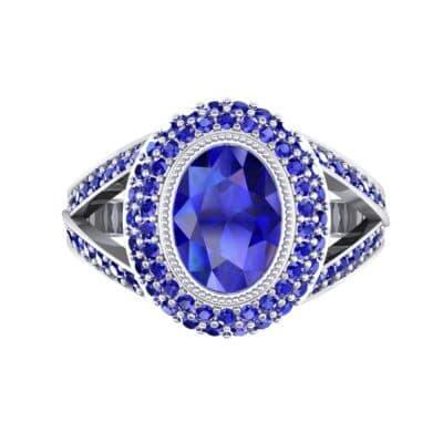 Victoria Bezel-Set Halo Blue Sapphire Engagement Ring (3.67 CTW) Top Flat View