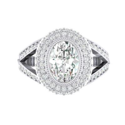 Victoria Bezel-Set Halo Diamond Engagement Ring (3.67 CTW) Top Flat View