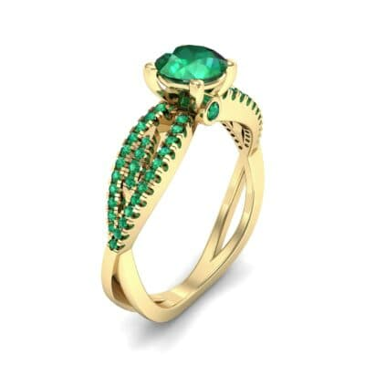 Countess Split Shank Solitaire Emerald Engagement Ring (1.03 CTW) Perspective View
