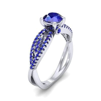 Countess Split Shank Solitaire Blue Sapphire Engagement Ring (1.03 CTW) Perspective View