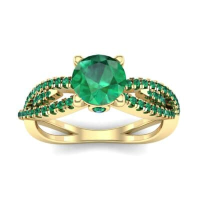 Countess Split Shank Solitaire Emerald Engagement Ring (1.03 CTW) Top Dynamic View