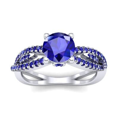 Countess Split Shank Solitaire Blue Sapphire Engagement Ring (1.03 CTW) Top Dynamic View