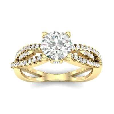 Countess Split Shank Solitaire Diamond Engagement Ring (1.03 CTW) Top Dynamic View