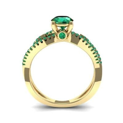 Countess Split Shank Solitaire Emerald Engagement Ring (1.03 CTW) Side View