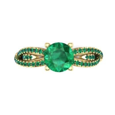 Countess Split Shank Solitaire Emerald Engagement Ring (1.03 CTW) Top Flat View