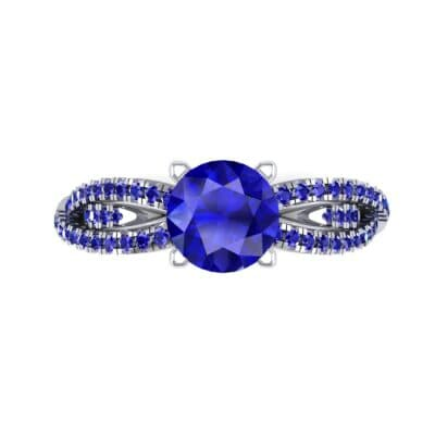 Countess Split Shank Solitaire Blue Sapphire Engagement Ring (1.03 CTW) Top Flat View